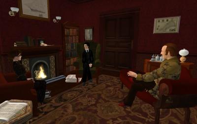 Miss Book, Holmes, and Watson at 221B